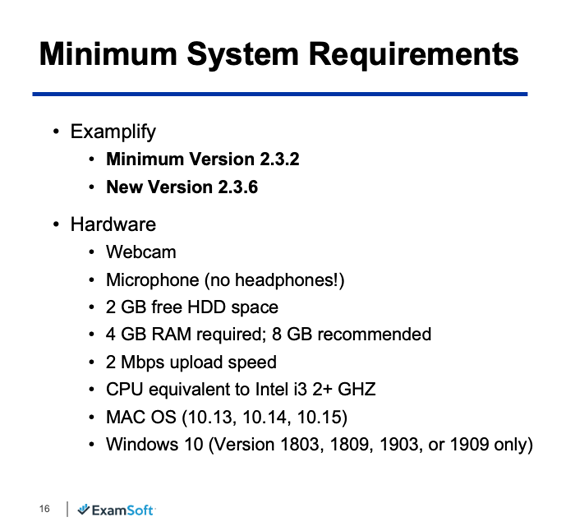 Examplify requirements image